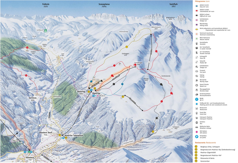 Pistenplan Madrisa Davos Klosters Saison 2017 2018