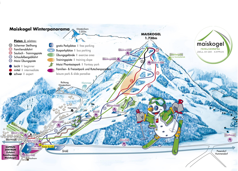 Pistenplan maiskogel kaprun for Designhotel skigebiet